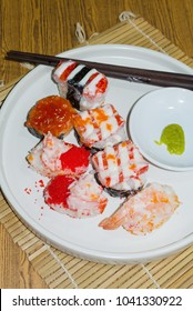 Suchi Japanese food on dish close up, Top view