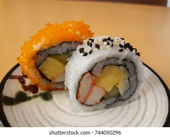 Suchi Japanese food on dish close up