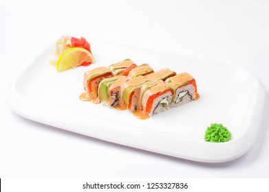 suchi on white plate and background. Isolate