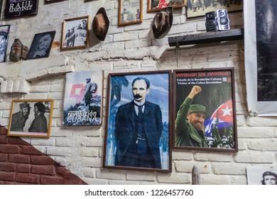 SUCHITOTO, EL SALVADOR - APRIL 6, 2016: Socialist posters in El Necio bar in Suchitoto, El Salvador