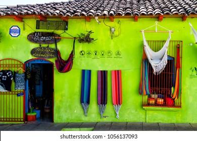 SUCHITOTO, EL SALVADOR - FEB 01: Colorful hammocks for sale in Suchitoto, El Salvador, Central America on Feb 01, 2018.