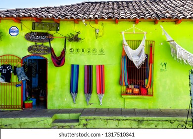 SUCHITOTO, EL SALVADOR - FEB 01: Colorful hammocks for sale in Suchitoto, El Salvador, Central America on Feb 01, 2018.
