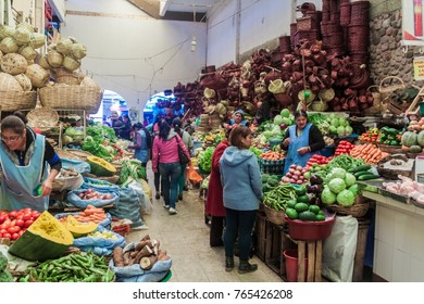SUCRE, BOLIVIA - APRIL 21, 2015: Local people shop at the market in Sucre, Bolivia