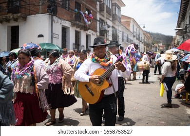 Sucre, Bolivia - February 2020: Traditional carnival parade with band music and dancers