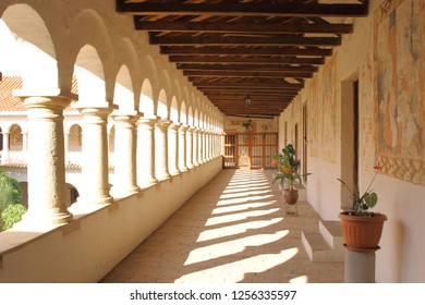 SUCRE, BOLIVIA NOV, 2018: Convent hallway in sucre, bolivia. The white city with colonial architecture.