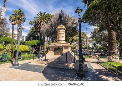 Sucre - July 21, 2017: Statue of freedom fighter in the center of Sucre, Bolivia