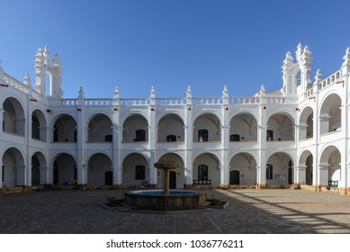 SUCRE - JULY 26: Courtyard of San Felipe de Neri Monastery on July 26, 2017 in Sucre, Bolivia