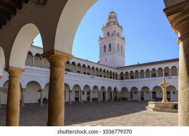 SUCRE - JULY 26: Courtyard of University of San Francisco Xavier de Chuquisaca on July 26, 2017 in Sucre, Bolivia
