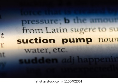 suction pump word in a dictionary. suction pump concept.