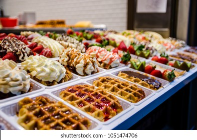 suculent and colorful Belgian waffles in Brussels