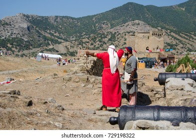 Sudak, Crimea - August 14: Shooting from the bow in Genoa fortress on August 14, 2015  in Sudak, Crimea.