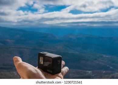 Sudak, Crimea / Russia - Nowember 13 2018: Action camera GoPro Hero7 black