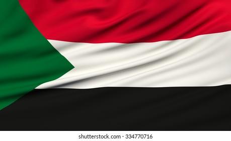 Sudan Flag. 3d illustration