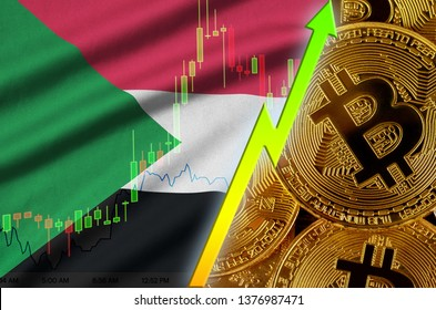 Sudan flag and cryptocurrency growing trend with many golden bitcoins