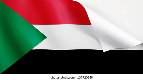 A Sudan flag with a curl at the corner with blank space for text.