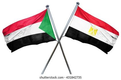 Sudan flag with Egypt flag, 3D rendering