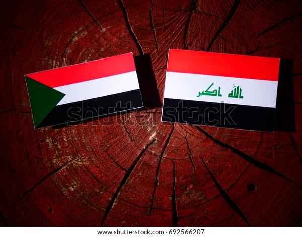 Sudan flag with Iraqi flag on a tree stump isolated