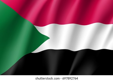 Sudan flag. National patriotic symbol in official country colors. Illustration of Africa state waving flag. Realistic  icon