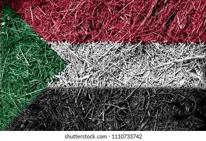 Sudan flag on dry grass texture