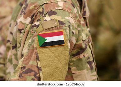 Sudan flag on soldiers arm. Sudan troops (collage)