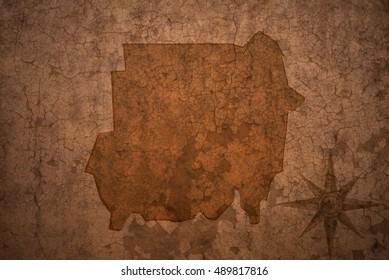 sudan map on a old vintage crack paper background