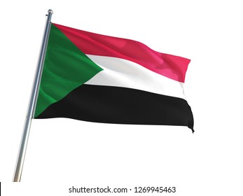 Sudan National Flag waving in the wind, isolated white background. High Definition