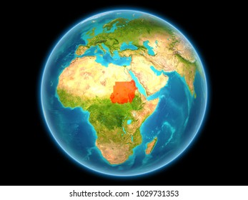 Sudan in red on planet Earth as seen from space on full sphere. 3D illustration. Elements of this image furnished by NASA.