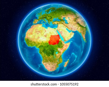Sudan in red from Earthâ??s orbit. 3D illustration. Elements of this image furnished by NASA.