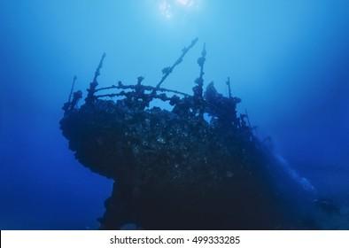 SUDAN, Red Sea, U.W. photo, wreck, the stern of the sunken ship