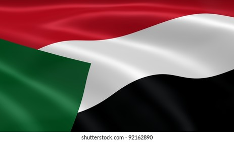 Sudanese flag in the wind. Part of a series.