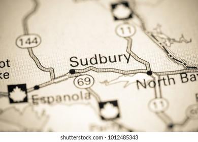 Sudbury. Canada on a map.