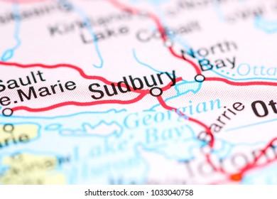 Sudbury. Canada on a map