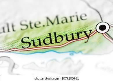 Sudbury, Canada on a map.