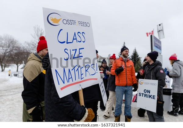 SUDBURY, CANADA-JANUARY 15:A group of public secondary school teachers gathering for Ontario Teachers Strike for public education against the Dough Ford Government on January 15 2020 in Sudbury Canada