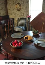 Sudbury, MA, USA December 15, 2017 A traditional Christmas table setting is on  display at the historic Wayside Inn in Sudbury, Massachusetts