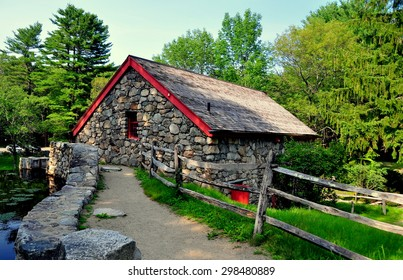 Sudbury, Massachusetts - July 12, 2015:  The Old Stone Grist Mill still grinds flour for nearby Longfellow's 1716 Wayside Inn *