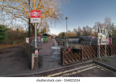Sudbury, UK. 26th December 2016. The entrance to Sudbury railway station on the short Sudbury to Marks Tey branch line in Suffolk, East Anglia, UK.