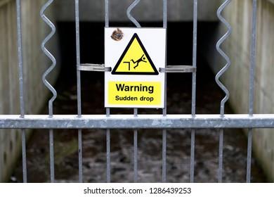 Sudden drop warning sign
