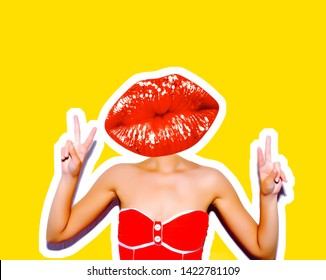 A sudden portrait of a sexy girl in a red bikini with red lips instead of a head. Magazine style collage. Isolated trendy yellow background.