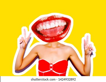 A sudden portrait of a sexy girl in a red bikini with red lips instead of a head with a gesture of victory and peace. Magazine style collage. Isolated trendy yellow background.