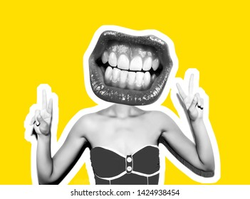 A sudden portrait of a sexy girl in a red bikini with red lips instead of a head with a smile and a gesture of victory and peace hand. Magazine style collage. Isolated yellow background in black .