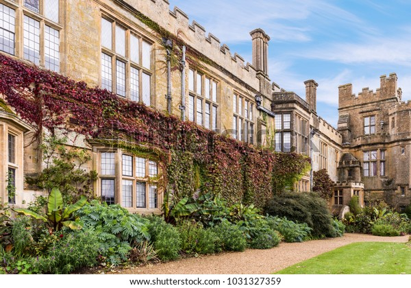Sudeley Castle in England Exterior Buildings with Ivy, Creeper Growing on the Walls and Gardens.