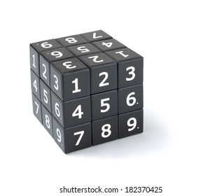 Sudoku numbers cube puzzle on a white background