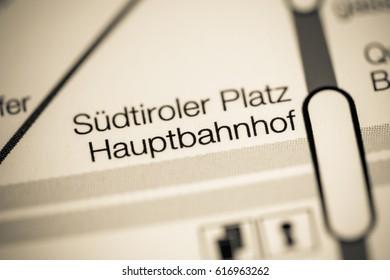Sudtiroler Platz Hauptbahnhof Station. Vienna Metro map.