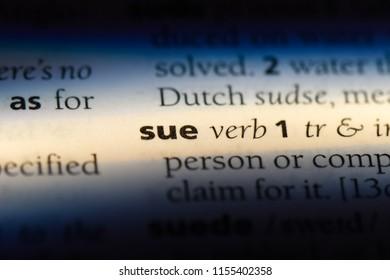 sue word in a dictionary. sue concept.