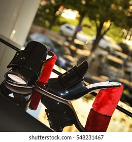 Suede black women`s shoes with reflection