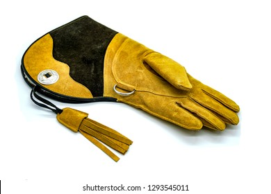 suede falconry glove on white background, isolate, hunting