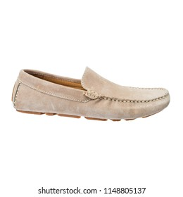 suede moccasins on a white background