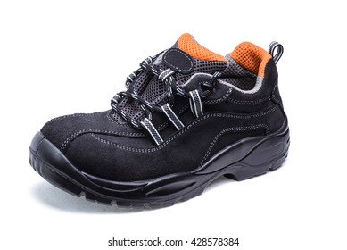 Suede shoes for safe operation on white background/Sneaker for workers