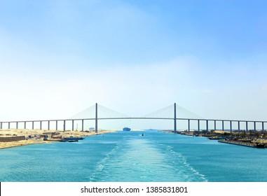 The Suez Canal Bridge, also known as the  25 January Bridge, Egyptian-Japanese Friendship Bridge, Al , Al  Peace or Mubarak Peace